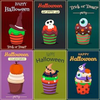 Conjunto de la magdalena. cartel de dulces dulces feliz halloween.
