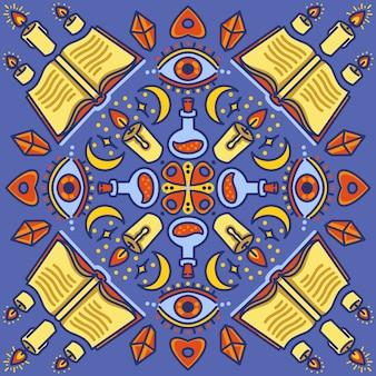 Conjunto mágico de objetos patrones signos y símbolos