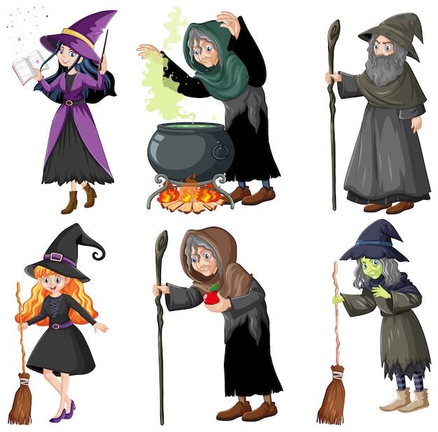 Conjunto de mago o brujas con herramientas mágicas estilo de dibujos animados aislado sobre fondo blanco.