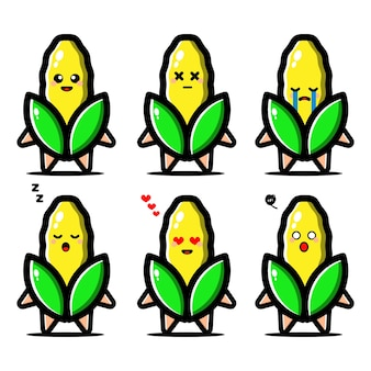 Conjunto de maíz lindo con personaje de dibujos animados de expresión