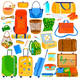 Conjunto de maletas, bolsos y equipaje de viaje, iconos de colores en blanco, ilustración