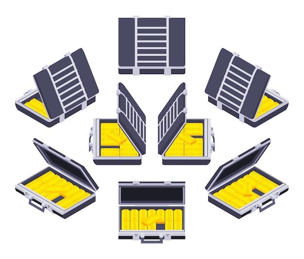 Conjunto de los maletines isométricos abiertos con las barras de oro.