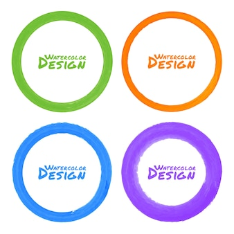 Conjunto de manchas de acuarela círculo colorido grunge, ilustración