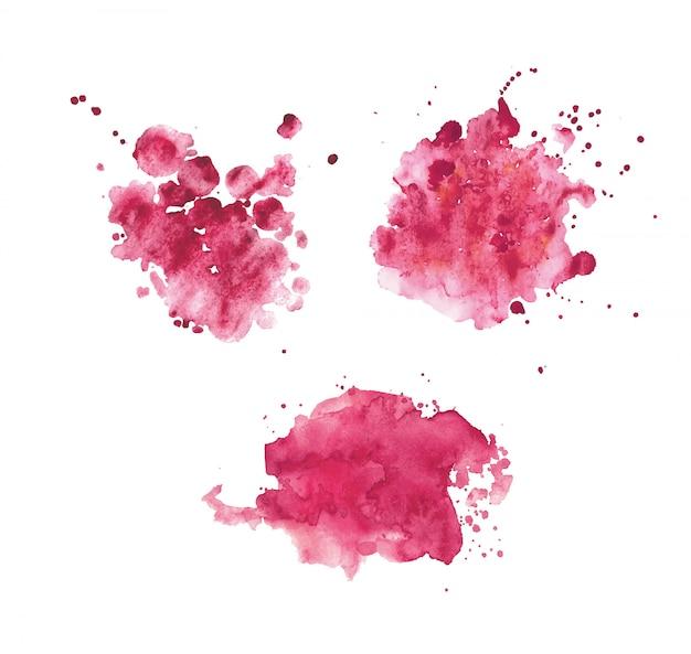 Conjunto de manchas de acuarela realista rosa.