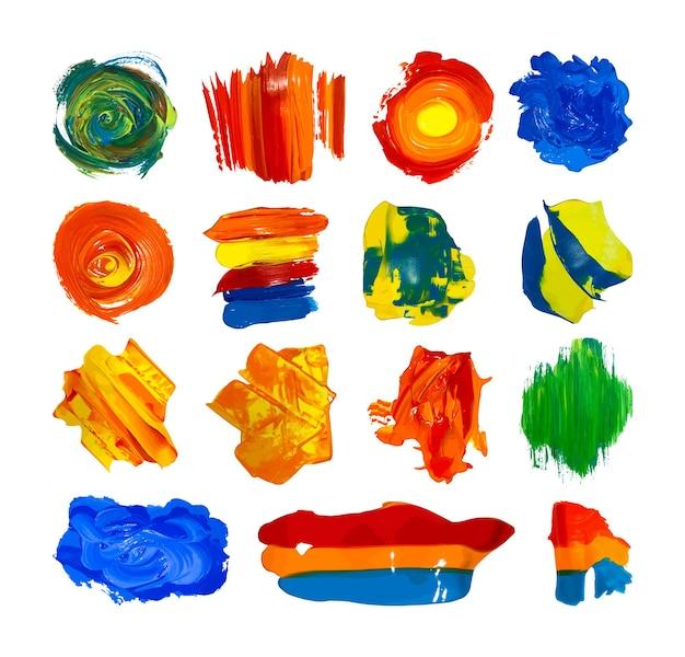 Conjunto de manchas de pintura acrílica