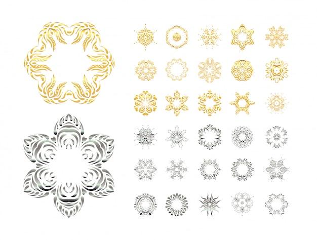 Conjunto mandala de encaje ornamental
