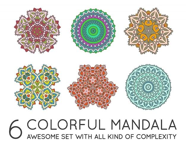 Conjunto de mandala fractal étnico