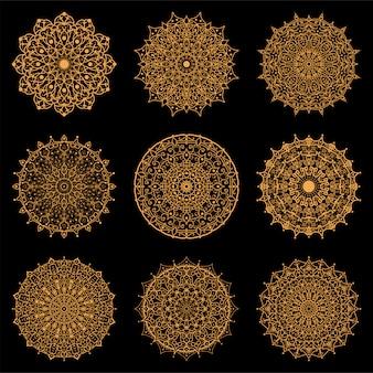 Conjunto de mandala de lujo. decoración de flores mehndi en estilo étnico oriental e indio. ornamento del doodle esquema dibujar a mano ilustración.