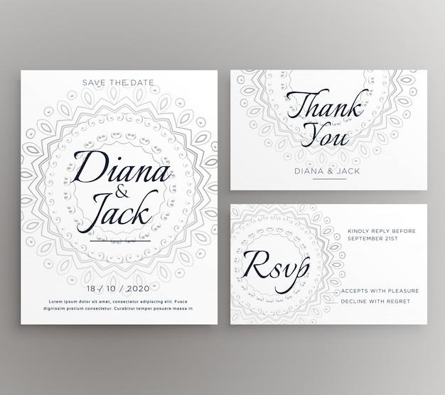 Conjunto de mandala ornamental de invitación de boda