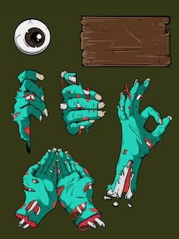 Conjunto de mano de halloween zombie