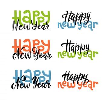 Conjunto de la mano de letras nuevas cotizaciones año - feliz año nuevo escrito en varios estilos.