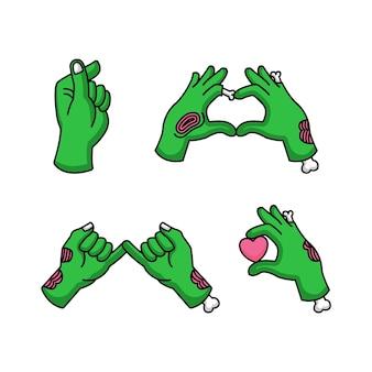 Conjunto de mano zombie con signo de amor en el día de san valentín