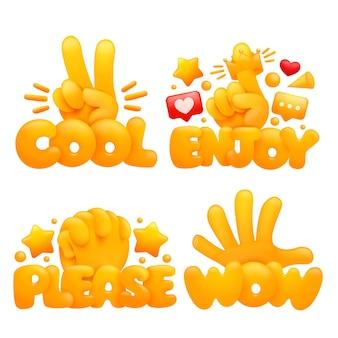 Conjunto de manos amarillas emoji en varios gestos con títulos genial, disfruta, por favor, guau.