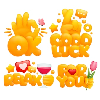 Conjunto de manos amarillas emoji en varios gestos con títulos ok, buena suerte, relájate, para ti.
