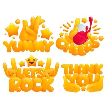 Conjunto de manos amarillas emoji en varios gestos con títulos yummy, cheers, lets rock, gracias.