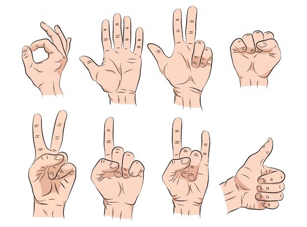 Conjunto de manos bosquejo en diferentes gestos emociones y signos