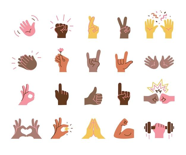 Conjunto de manos coloridas sosteniendo diferentes objetos documentos comerciales dispositivos de dinero tarjetas de crédito fing