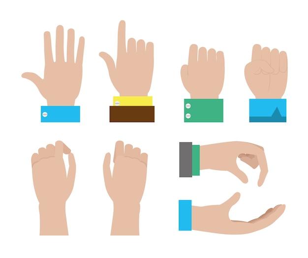 Conjunto de manos del diseño gráfico del ejemplo del vector del hombre de negocios