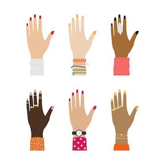 Conjunto de manos femeninas de diferentes razas con anillos.