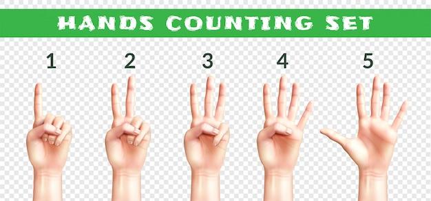 Conjunto de manos de hombres contando del uno al cinco aislado en realista transparente
