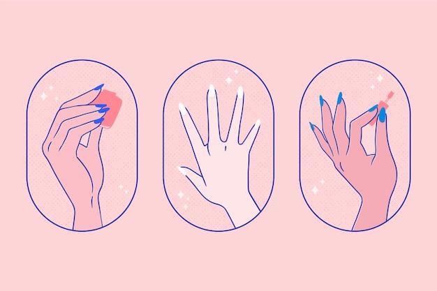 Conjunto de manos de manicura