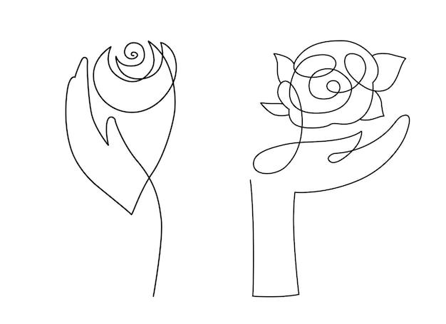 Conjunto de manos de mujer elegante sosteniendo una rosa, estilo de arte de línea
