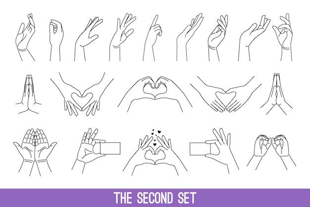 Conjunto de manos de mujeres en estilo lineal que muestran corazones y hacen gestos de oración