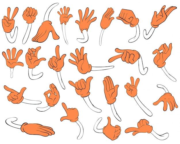Conjunto de manos naranjas