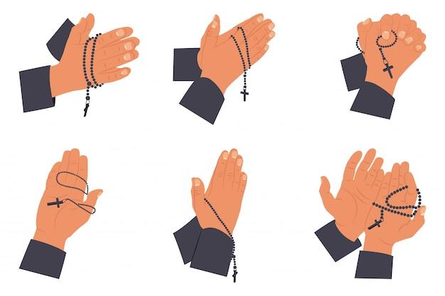 Conjunto de manos rezando con rosarios santos. ilustración plana aislado en un blanco.