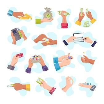 Conjunto de manos sosteniendo dinero, tarjetas de crédito y elementos económicos.