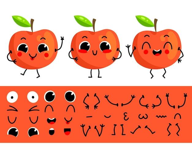 Conjunto de manzana roja para crear un personaje de dibujos animados divertido ilustración de constructor de personajes de manzana