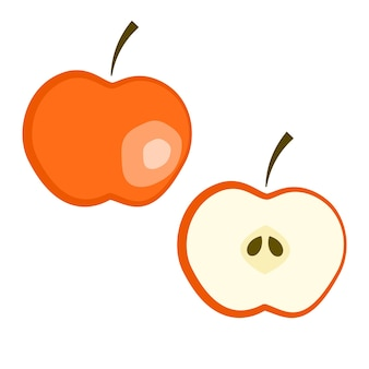 Conjunto de manzana roja madura de vector plano - fruta fruta y dividida por la mitad. linda fruta de verano colorida