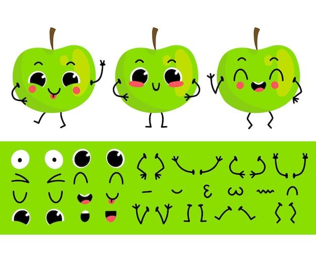 Conjunto de manzana verde para crear un personaje de dibujos animados divertido ilustración de constructor de personajes de manzana