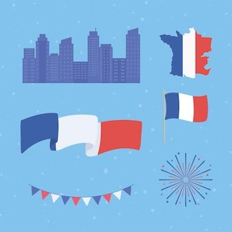 Conjunto de mapa de bandera de francia