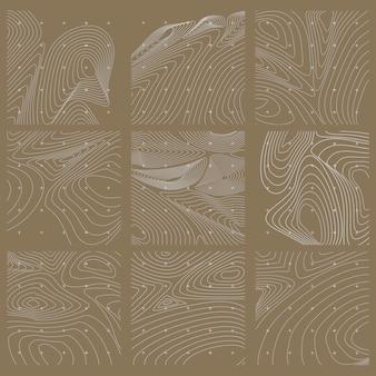 Conjunto de mapa de contorno abstracto blanco y marrón