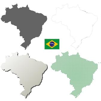 Conjunto de mapa de contorno de vector de brasil