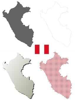 Conjunto de mapa de contorno de vector de perú