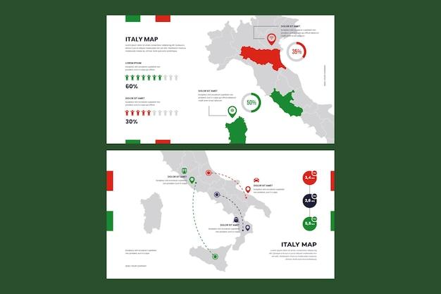 Conjunto de mapa de italia de infografía de diseño plano