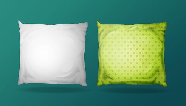 Conjunto de maqueta de almohada cuadrada 3d. elementos de tela de cama realistas.