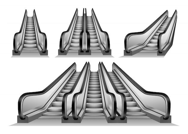 Conjunto de maqueta de ascensor de escalera mecánica
