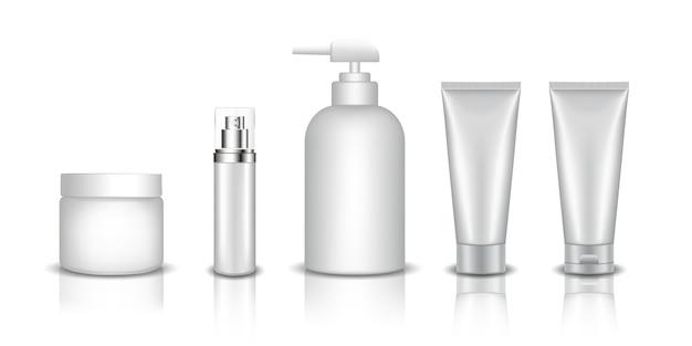 Conjunto de maqueta de botella cosmética realista