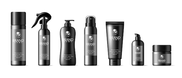 Conjunto de maqueta de botella cosmética de vector, envases de plástico. tubo de espuma, laca para el cabello, desodorante, botellas de plástico