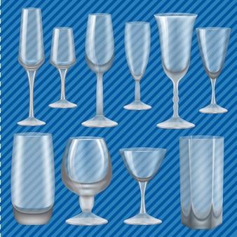 Conjunto de maqueta de cristal para beber. ilustración realista de 10 maquetas de vidrio para beber para web.