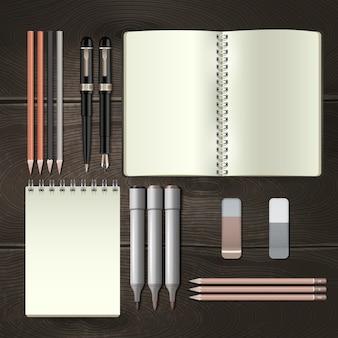 Conjunto de maqueta de herramientas de papelería de negocios