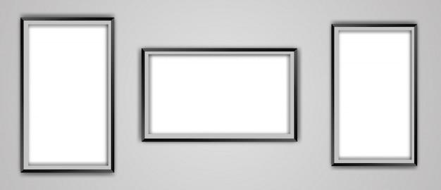 Conjunto de maqueta de marco de imagen negro vacío realista aislado en un fondo transparente.