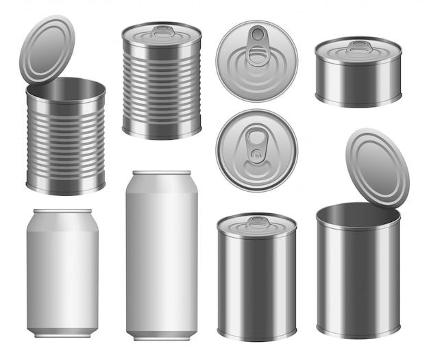 Conjunto de maqueta de paquete de alimentos de lata