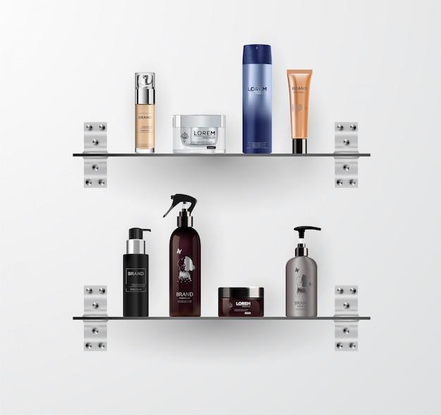 Conjunto de maquetas de botella cosmética realista.