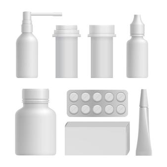 Conjunto de maquetas de botellas médicas realistas