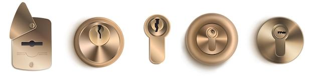 Conjunto de maquetas detalladas de plantillas de ojo de cerradura de oro d
