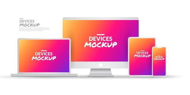 Conjunto de maquetas de dispositivos tecnológicos con pantalla en blanco sobre blanco